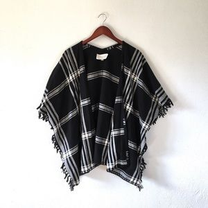 Rory Beca Nadine Plaid Fall Open Cardigan Poncho